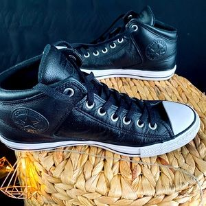 Leather Black Converse Sneakers All Star Men 10